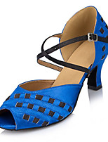 Women's Latin Silk Sandals Performance Criss-Cross Paillettes Cuban Heel Blue Ruby 2