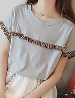 Women's Going out Casual/Daily Simple Street chic Summer Fall T-shirt,Solid Round Neck Short Sleeve Polyester Medium