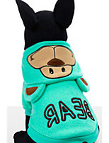 Dog Hoodie Dog Clothes Casual/Daily Keep Warm Cartoon Blushing Pink Blue