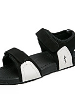 Men's Sandals Comfort PU Spring Summer Casual Comfort Low Heel Ruby Black White Under 1in