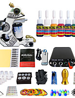 Professional Beginner Tattoo Kit Machine Inks Tattoo Power Supply Needle Grip Tips