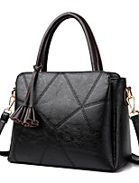 Women Tote PU All Seasons Wedding Event/Party Casual Formal Office & Career Cubic Zipper Brown Purple Gray Red Black