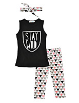Girls' Print Sets Cotton Summer Sleeveless Clothing Set Stay Wild Vest Triangle Pants with Headbands 3pcs Outfits