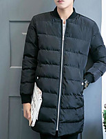 Men's Padded Coat,Simple Active Daily Casual Solid Quotes & Sayings-Cotton Polyester Cotton Long Sleeve