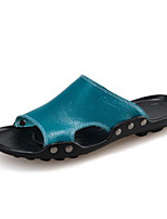 Men's Sandals Comfort PU Rubber Spring Casual Comfort Blue Yellow Black White Flat