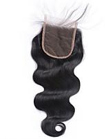 1 PC liberan el pelo remy virginal virginal virginal virginal negro de la armadura del cordón de la onda del cuerpo de la pieza 4x4 que