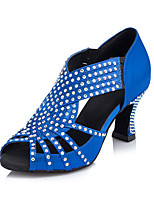 Для женщин Латина Шёлк Сандалии Кроссовки Профессиональный стиль Стразы С пряжкой На толстом каблуке Желтый Синий 5 - 6,8 см
