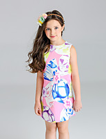 Girl's Floral Print Dress,Cotton Polyester Spring Summer Sleeveless