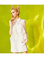 Manches Ajustées Pantalon Costumes Femme,Couleur Pleine Quotidien Contemporain Eté Sans Manches Col Arrondi