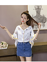 Women's Going out Cute Summer Blouse,Print V Neck Half Sleeve Others