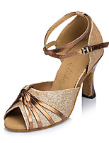 Women's Latin Sparkling Glitter Nubuck leather Heels Indoor Buckle Gold Blue 2