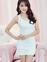 Women's Going out Casual/Daily Bodycon Loose Dress,Solid Strap Mini Sleeveless Cotton Polyester Spring Summer Mid Rise Micro-elastic