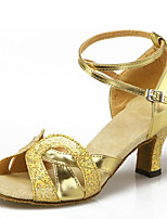 Women's Dance Shoes Sandals Latin Paillette Chunky Heel Indoor Black/Gold/Silver