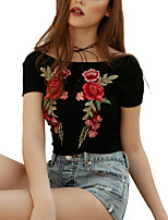 Women's Going out Casual/Daily Work Club Sexy Summer Fall T-shirt Rose Embroidery Boat Neck Short Sleeve Acrylic Spandex Medium Black/White