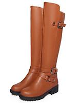 Feminino Sapatos Couro Ecológico Outono Inverno Conforto Botas Para Casual Preto Marron