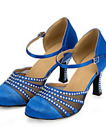 Femme Modernes Lycra Talons Intérieur Strass Talon Aiguille Bleu Kaki 7,6 à 9,5cm