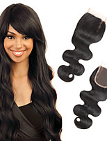 1 pedazo / paquete manera brasileña del pelo humano del pelo del pelo del encierro del cordón de la onda del cuerpo 4x4 100% remy de la