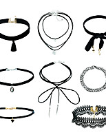 1Set Women's Jewelry Set Choker Necklaces Pendant Necklaces Basic Dangling Style Euramerican Fashion Plastics Plush Fabric Mixed Material Alloy