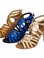 Customizable Women's Latin Silk Sandals Performance Criss-Cross Stiletto Heel Nude Khaki Blue 3