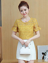 Women's Daily Casual Casual Summer Blouse Skirt Suits,Solid Lace Round Neck Short Sleeve Inelastic