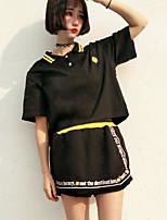 Для женщин На каждый день Лето Как у футболки Юбки Костюмы Рубашечный воротник,Современный С принтом Буквы С короткими рукавами