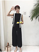 Women's Daily Casual Casual Summer Tank Top Pant Suits,Solid Striped Round Neck Sleeveless Micro-elastic