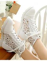 Damen Schuhe PU Frühling Komfort Stiefel Blockabsatz Keilabsatz Stöckelabsatz Für Normal Weiß Schwarz Beige