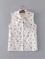 Women's Daily Casual Simple Shirt,Floral Jewel Sleeveless Polyester