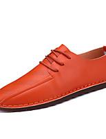 Для мужчин Кеды Мокасины Полиуретан Лето Осень Повседневные Мокасины Белый Черный Оранжевый На плоской подошве