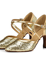 Women's Latin Glitter Sandals Performance Sparkling Glitter Stiletto Heel Silver Gold 3