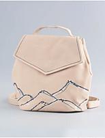 Women Backpack PU All Seasons Casual Bucket Zipper Gray Blushing Pink Black
