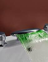 Moderne Style moderne LED Diffusion large Jet pluie with  Soupape en laiton Deux poignées trois trous for  Chrome , Robinet lavabo