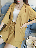 Women's Casual/Daily Work Simple Summer Fall Suit,Solid Print Shirt Collar ¾ Sleeve Regular Others