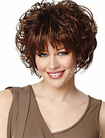 Women's Short Curly Fluffy Full Side Bang Synthetic Wigs Brown Heat Resistant Syntheitc Wig