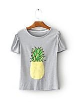 Mujer Sexy Simple Chic de Calle Noche Casual/Diario Primavera Otoño Camiseta,Escote Redondo Estampado Manga Corta Algodón Fino Medio