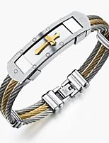 Titanium gold cross between steel wire bracelet man