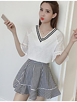 Women's Daily Casual Casual Summer T-shirt Skirt Suits,Color Block Plaid/Check Mesh V Neck 1/2 Length Sleeve Micro-elastic