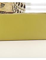 Women Checkbook Wallet Cowhide All Seasons Casual Rectangle Zipper Ruby Yellow Aquamarine