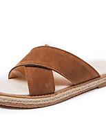 Women's Slippers & Flip-Flops Comfort Spring Flocking Linen Casual Black Dark Brown 2in-2 3/4in