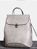 Women Backpack Cowhide All Seasons Casual Round Zipper Black Gray 10-20