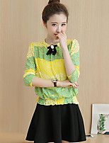 Women's Daily Casual Casual Spring T-shirt Skirt Suits,Print Round Neck Long Sleeve Micro-elastic