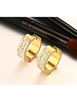 Women's Earrings Classic Elegant Cubic Zirconia Titanium Steel 18K gold Circle Jewelry For Wedding Anniversary Party/