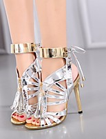 Damen High Heels Komfort Pumps PU Sommer Normal Komfort Pumps Schwarz Silber 5 - 7 cm
