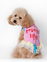Dog Dress Vest Dog Clothes Casual/Daily Letter & Number Blue Blushing Pink
