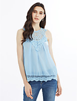 Women's Birthday Party Going out Casual/Daily Simple Cute Spring Summer Blouse,Solid Crew Neck Sleeveless Chiffon Thin