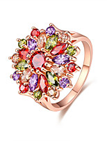 Women's Ring Multi-stone Colourful AAA Cubic Zirconia Cute  Fashion Elegant Rose Gold Flower Shape Jewelry For Wedding Anniversary Party