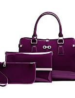 Women Tote PU All Seasons Casual Rectangle Zipper Wine Aquamarine Purple Black