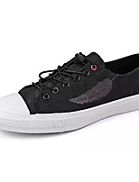 Men's Sneakers Comfort Spring Fall PU Casual Lace-up Flat Heel White Black Flat