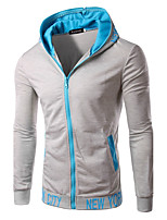 Men's Sports Going out Casual/Daily Hoodie Solid Letter Hooded Micro-elastic Cotton Polyester Long Sleeve Spring Fall