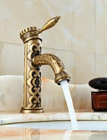 Antique Bronze Bathroom Sink Faucet Craved Brass Hot and Cold Water Mixer Tap Basin Sink Faucets